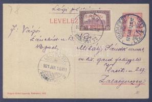 """Airmail postcard """"BUDAPEST"""" - """"SZOMBATHELY"""" - Zalaegerszeg, 1921.01.12. (2. díjszabás) Légi levelezőlap """"BUDAPEST"""" - """"SZOMBATHELY"""" - Zalaegerszeg"""