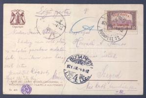 """Airmail postcard """"BUDAPEST"""" - Szeged, 1921.01.04. (2. díjszabás) Légi képeslap """"BUDAPEST"""" - Szeged"""