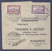1920.12.16. (2. díjszabás) Légi címszalag Légi posta 3K + 8K bérmentesítéssel / Airmail wrapper franked with 3K + 8K airmail stamps