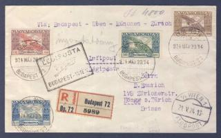 1924 (13. díjszabás) Ajánlott légi nyomtatvány Svájcba BUDAPEST-WIEN légi irányító bélyegzéssel / Registered airmail printed matter to Switzerland with BUDAPEST-WIEN airmail cancellation