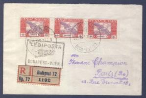 1925 (15. díjszabás) Ajánlott légi levél Párizsba 3 x 10000K Ikarusz bérmentesítéssel, BUDAPEST-WIEN légi irányító bélyegzéssel / Registered airmail cover to Paris franked 3 x Mi 388, with BUDAPEST-WIEN airmail cancellation