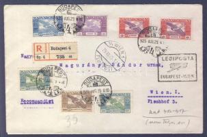 1925 (15. díjszabás) Ajánlott légi levél Bécsbe BUDAPEST-WIEN légi irányító bélyegzéssel / Registered airmail cover to Vienna with BUDAPEST-WIEN airmail cancellation