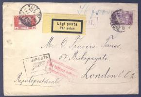 1926 Légi levél Londonba BUDAPEST-KÖLN légi irányító bélyegzővel / Airmail cover to London with BUDAPEST-KÖLN airmail postmark