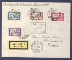 1927 Légi levél Svájcba BUDAPEST-ZÜRICH légi irányító bélyegzéssel / Airmail cover to Switzerland with BUDAPEST-ZURICH airmail cancellation