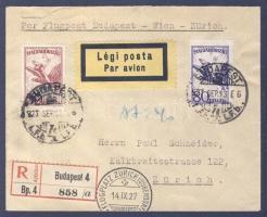 1927 Ajánlott légi levél Svájcba BUDAPEST-ZÜRICH légi irányító bélyegzéssel / Registered airmail cover to Switzerland with BUDAPEST-ZURICH airmail cancellation
