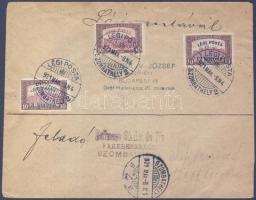 """Complete set on airmail cover """"SZOMBATHELY"""" - """"BUDAPEST"""", 1921.03.08. Légi levél teljes sorral """"SZOMBATHELY"""" - """"BUDAPEST"""""""