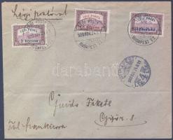 1920.11.24. Légi levél teljes sorral / Complete set on airmail cover BUDAPEST - GYŐR