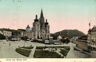 Mariazell church with pharmacy and hotel, shops, Mariazell, templom, gyógyszertár, hotel, üzletek