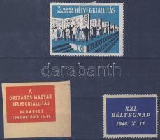 1948 Bélyegkiállítás és Bélyegnap 3 db emlékbélyeg