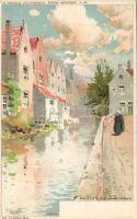 Brugge litho s: F. Ranot, Bruges riverside litho s: F. Ranot
