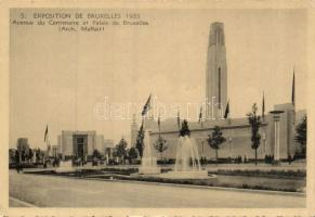 1935 Brussels, Exposition, Centennial Avenue and the Palace of Brussels, 1935 Brüsszel, Kiállítás, Centenaire sugárút, palota