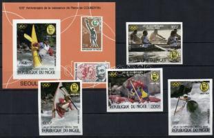 1988 Szöuli olimpia vágott sor Mi 1049-1052 + vágott blokk 53
