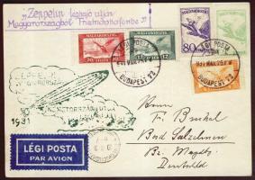 1931 Zeppelin magyarországi útja képeslap Budapest - Friedrichshafen, Zeppelin bélyegek helyett 1927 Repülő bérmentesítés. Ritka! / Zeppelin cover Budapest-Friedrichshafen franked with airmail instead of Zeppelin stamps. Rare!