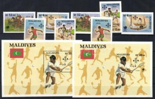 1988 Nyári olimpia vágott és fogazott sor Mi 1307-1310 + fogazott és vágott blokk Mi 144