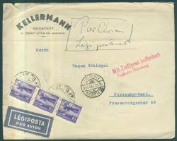 1934 Légi levél Nürnbergbe 1933 évi Repülő 16f hármascsíkkal bérmentesítve / Airmail cover to Nürnberg