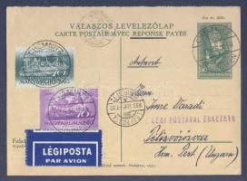 1936 Díjkiegészített díjjegyes válasz levelezőlap légipostával Magyarországra / PS-reply card with additional franking, airmail to Hungary