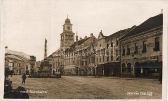 Trebon, cast námesti / main sqaure, church, Hotel Zlata Hvezda, shop of Bedrich Pejsa