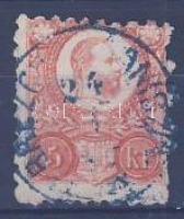 1871 Réznyomat 5kr (foghibák) kék BREZO(VARH)ONICZ (ZÓLYOM M) (Felvidék)