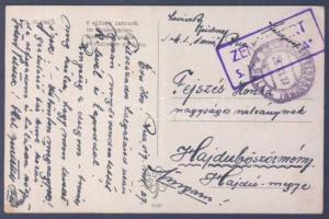 1917 Képeslap haditengerészeti postával az Adria hajóról