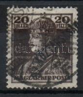 1918 Köztársaság / Károly 20f erősen eltolódott (a bélyegről lelógó) felülnyomással