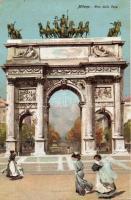 Milano, Arco della Pace / gate, litho, Milánó, Arco della Pace / Diadalív, litho