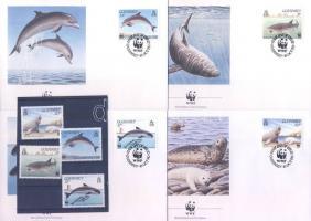 1990 WWF Tengeri állatok sor Mi 497-500 + 4 FDC