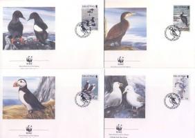 1989 WWF Tengeri madarak sor négyescsíkban Mi 408-411 + 4 FDC