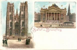 Brussels, Bruxelles; Nouvelle Bourse, Eglise Ste Gudule / stock exchange, cathedral litho
