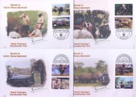 2002 WWF Afrikai elefánt sor Mi 2393-2396 4 FDC-n (szelvényekkel)