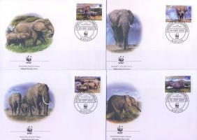 2002 WWF Afrikai elefánt sor Mi 2393-2396 4 FDC-n