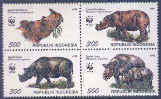 WWF Rhinoceros block of 4 + 4 FDC, WWF Orrszarvú négyestömb + 4 FDC, WWF Sumatra- und Javanashorn Viererblock + 4 FDC