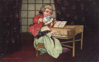 Baroque children playing the piano s: Colombo, Barokk zongorázó gyerekek s: Colombo