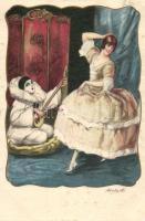 Italian art postcard, lady with clown, Elite CCM 2551-2. s: Ambart, Olasz művészlap, hölgy bohóccal,  Elite CCM 2551-2. s: Ambart