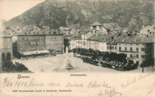 Bolzano, Bozen; Johannisplatz, Hotel Greif, Gasthof zum Schwarzen Greif / square, cafe, restaurant