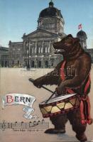 Bern, Federal Palace (Parliament) bear drummer