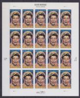 Ella Fitzgerald self-adhesive mini sheet of 20 stamps, Ella Fitzgerald 20 bélyegből álló  öntapadós kisív, Schwarzamerikanisches Erbe: Ella Fitzgerald. Odr. (54); selbstklebend