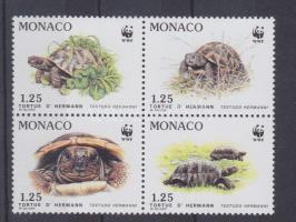 1991 WWF Görög teknősbéka sor négyestömbben Mi 2046-2049 + a sor értékei 4 FDC-n