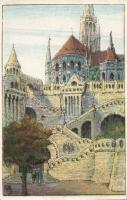 Budapest I. Halászbástya, Ungarische Werkstätte litho s: Singhoffer