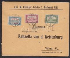 1918.jul. 8. Légi levél Bécsbe 1K50f Repülő posta bélyeggel / Mi 210 on airmail cover to Vienna. Signed: Visnyovszki