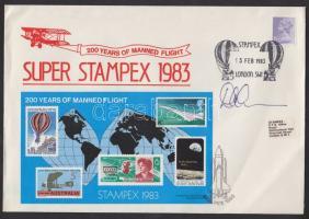 1983 STAMPEX bélyegkiállítás emlékboríték rajta 200 éve repül az ember emlékív