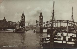 Szczecin, Stettin; Baumbrücke / bridge, steamships