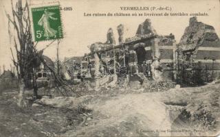 Vermelles, Ruines de chateau / after the bombing, destroyed castle