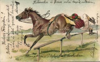 Horse race, humorous postcard, litho, Lóverseny, humoros lap, litho
