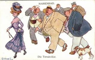 Terrain Kur / People from Marianské Lázne (Marienbad) humour s: Schönpflug, Marianské Lázne-i (Marienbad-i) emberek, humor s: Schönpflug