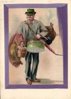 Gentleman with baggages, decorated, Pele-Mele No. 924. litho, Úriember csomagokkal, díszített, Pele-Mele No. 924. litho