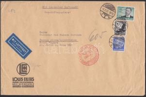 1937 Légi levél Argentínába 3,25 RM bérmentesítéssel / Airmail cover to Argentina with 3,25 RM franking