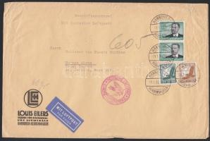 1938 Légi levél Argentínába 4,75 RM bérmentesítéssel / Airmail cover to Argentina with 4,75 RM franking