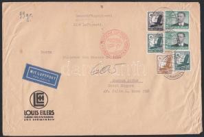 1937 Légi levél Argentínába 6,25 RM bérmentesítéssel / Airmail cover to Argentina with 6,25 RM franking