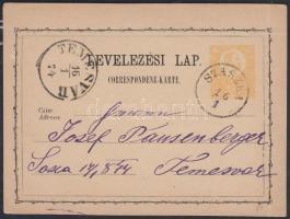 1874 Díjjegyes levelezőlap / PS-card SZASZKA - TEMESVÁR