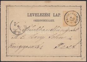 1872 Díjjegyes levelezőlap / PS-card FEJÉRGYARMATH - PEST